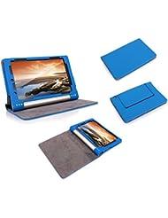 Supremery - Lenovo IdeaPad Yoga Tablette (10 pouces HD) Cuir Sac Boîte Étui en cuir Manteau Couverture Enveloppe de protection avec fonction de rester debout et fonction automatique de veille/réactivation en bleu