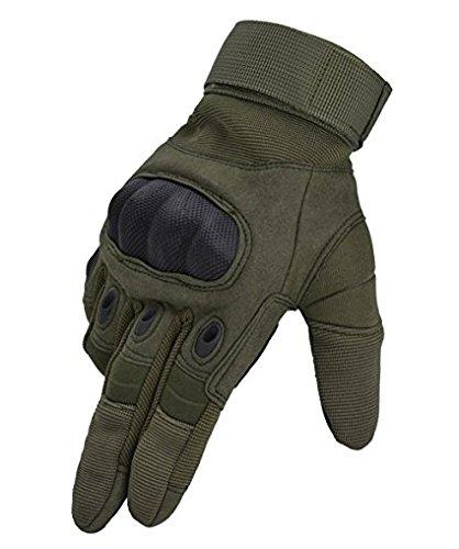 Taktische Handschuhe,JOMOQ Motorrad Handschuhe Herren Vollfinger Handschuhe mit gepolstertem Rückenseite geeignet für Airsoft, Militär, Paintball, Airsoft, Jag (M, Grün)