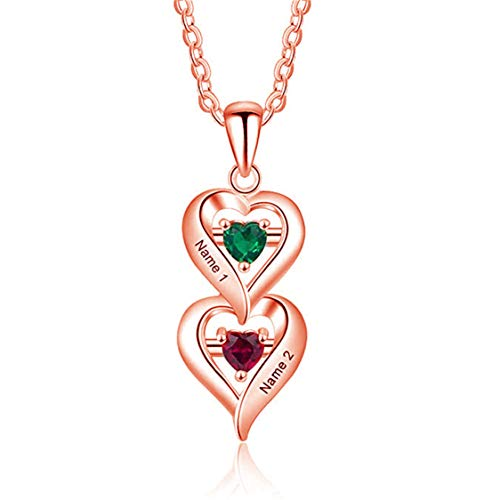 Collana personalizzata da donna in argento sterling 925 con 2 pendenti a cuore