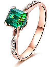 Natur Diopsid grün Edelstein Smaragd Schnitt 14K Solid Rose Gold Diamant Ehering Verlobungsring Ring Set für Frauen