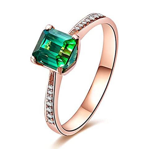 Kardy - 14 Karat Rotgold Brilliant Rund Emerald(5X7mm) grün Diopsid Diamant