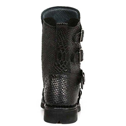 New Rock M.1471-S16 Herren Comfort Light Leder Schwarz Stiefel Schwarz