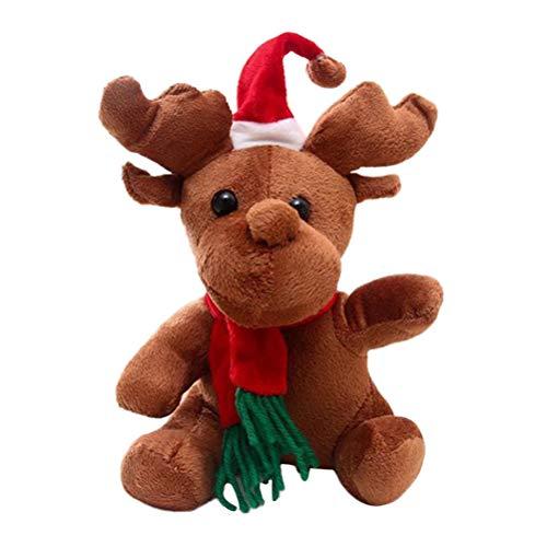 Toyvian Niedliche Rentiere Gefüllte Plüsch Puppe Spielzeug mit Musik Cartoon Entzückende Tier Spielzeug Weihnachtsdekoration 16 cm (Mit Weihnachtslieder)