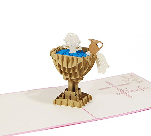 """3D KARTE\""""Zur Taufe\"""" I Pop-Up Karte als Gutschein, Geldgeschenk, Glückwunschkarte I Klappkarte als Taufkarte"""