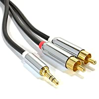 kenable PRO OFC 3.5mm Stereo Jack to 2 x RCA Phono Plugs Cable Gold 5m