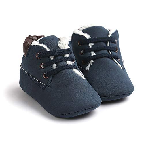 (Morbuy Baby Schuhe Baumwolle Winter 0-18 Monate Neugeborene Babyschuhe Mädchen Kleinkind Weiche Alleinige Anti-Rutsch Krabbelschuhe Wanderer Schuhe (12cm / 6-12 Monate, Dunkelblau Plus Samt))