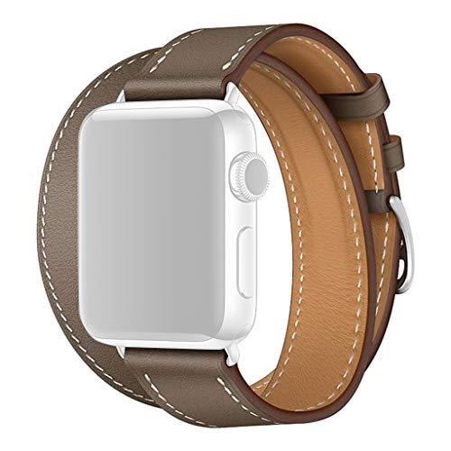d für Apple Watch Band 1234 38/40/42/44mm, Nourich Weiche Uhrenarmbänder Lederarmband Metallschnalle Schnellspanner Sportarmband Sportarmband Armbänder (Kaffee (38/40mm)) ()