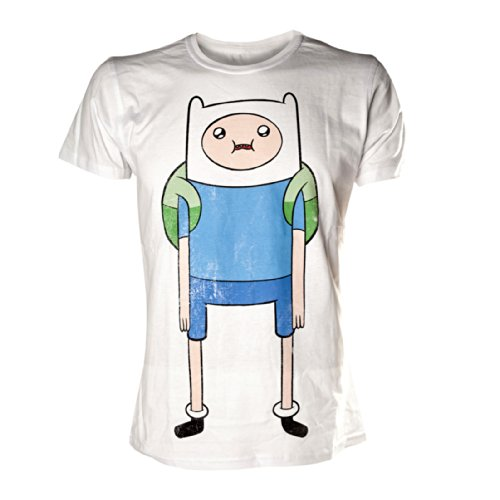 Adventure Time – Abenteuerzeit mit Finn und Jake T-Shirt: Finn Print (Weiß) Bioworld Größe S - XL (Und Finn Kostüme Jake)