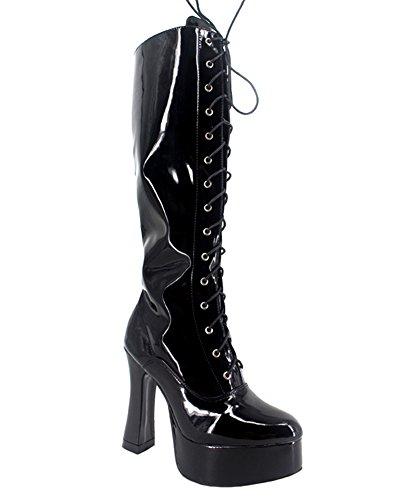 Wonderheel chunky high heel cosplay patent platform langschaft stiefel knee high boots (Chunky High Heel Boots Knee)