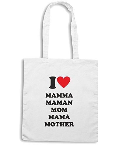 T-Shirtshock - Borsa Shopping T0541 i love mamma Bianco