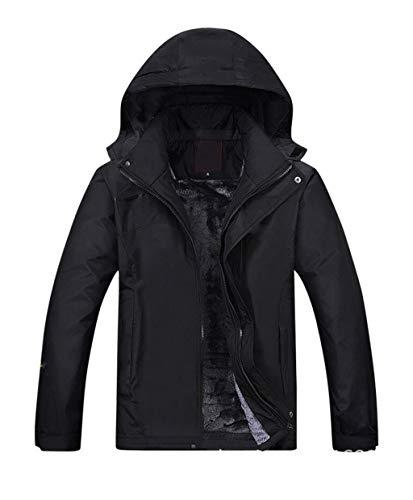 Winter Plus SAMT Dicke Warme Bergsteigen Kleidung, Herren Wasserdichte Jacke, Berg Skifahren Mantel (Farbe : SCHWARZ, größe : XL)