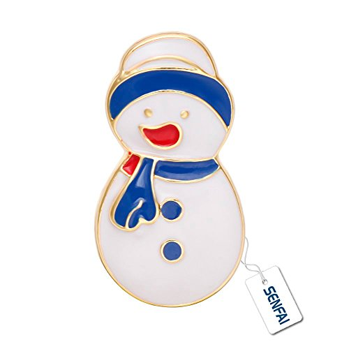 SENFAI Natale Costume da pupazzo di neve spilla Collar clip sciarpa fibbia Christmas Collection, lega (White Pattern Sciarpa)