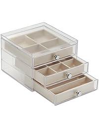 InterDesign Clarity Jewelry Joyero organizador   Caja joyero con 3 cajones y 17 compartimentos   Organizador de joyas antiarañazos   Plástico transparente/marfil