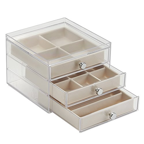 interdesign-3-drawer-jewelry-earrings-necklaces-bracelets-organizer-holder-box-clear-ivory