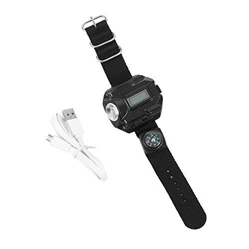 Miltifunktions LED Armbanduhr Taschenlampe Kompass USB Wiederaufladbare für Camping Wandern Laufen Radfahren