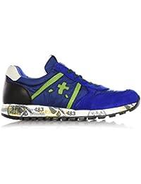 PREMIATA - Blaue Sneakers aus Wildleder und weichem atmungsaktivem Nylon,  mit grünen Schnürsenkeln, Herren, jungen,jungs. B01CT7XNUA 7aa390e18e