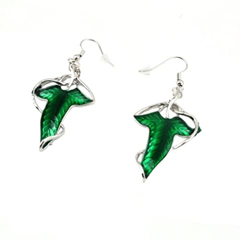 Bingo-uk Lord of The Rings Green Leaf Elven Pin Brooch Pendant Earring