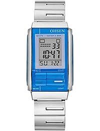 OHSEN Reloj De Pulsera De Mujer Analógico Digital Electrónico Multifunción Cronómetro Impermeable Con Calendario Alarma De Casual Acero-Azul