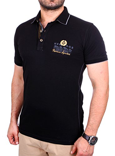 Reslad Polo-Shirt Herren Slim Fit Designer Polo-Hemd Kurzarm-Shirt RS-5201 Schwarz