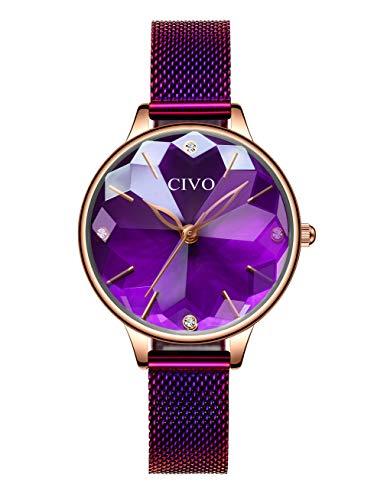 CIVO Damen Uhren Wasserdicht Silm Minimalistisch mit Edelstahl Mesh Armband Mode Kleid Elegant Beiläufig Quarzuhr für Damen,Violett/Violett (Damen Uhren Lila)