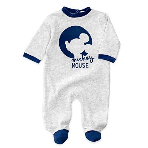 Disney Baby Strampler Jungen hellgrau | Motiv: Mickey Mouse | Baby Schlafanzug mit Füßen für Neugeborene & Kleinkinder | Größe: 12-18 Monate (86) (Disney Kleinkinder Für Schlafanzug)