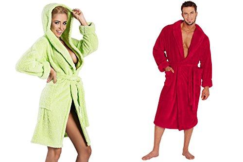 Ein Set bestehend aus 2 Bademänteln ist ein ideales Geschenk, für den gemeinsamen Wohlfühlfaktor in kalten Nächten. (XS-2XL) himbeere/grün