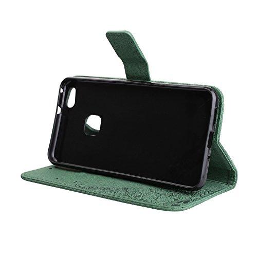Phenix Blumen Prägemuster Faux Leder Horiontal Folio Stand Case mit Lanyard Card Slots für Huawei P10 Lite ( Color : Green ) Green
