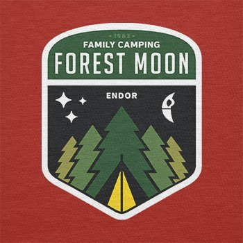 TEXLAB - Family Camping Forest Moon - Herren Langarm T-Shirt Rot