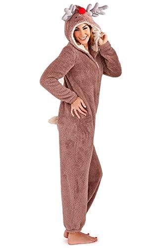 Rentier Frauen Kostüm - Damen Overall Loungeable Damen Pyjama 3D Ohren Overall Schlafanzug - Rentier, 48-50