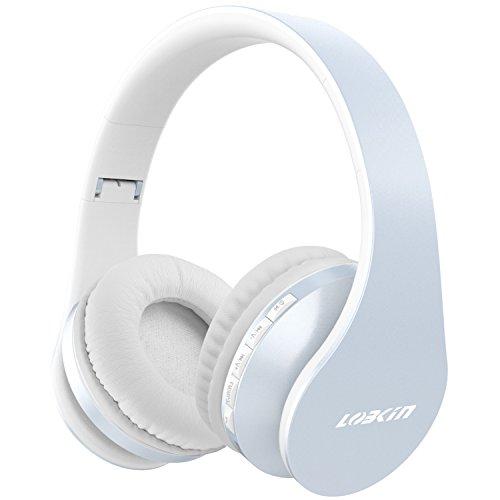 LOBKIN Auriculares de Diadema Casco Bluetooth Inalámbrico con Micrófono Casco Plegable Headphone Bluetooth Manos Libres y Cable de Audio para Apple iPhone XS 8 7Plus, 6s, 6 Samsung Sony Huawei Movil, PC, Mac (azul claro-1)