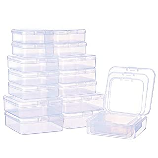 BENECREAT 27 PACK Mixed size Rectangle Mini Clear Plastic Bead Storage Containers Box Case with lid for Items,Pills,Herbs,Tiny Bead,Jewerlry Findings, and Other Small Items