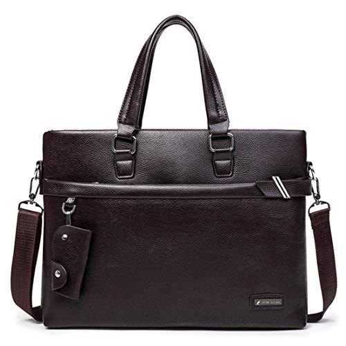 """Honneury Herren Reißverschluss PU Leder Messenger Bag 13 """"Laptop Aktentasche Satchel Schulter Handtasche Bookbag w Strap for Business Man (Color : Brown)"""