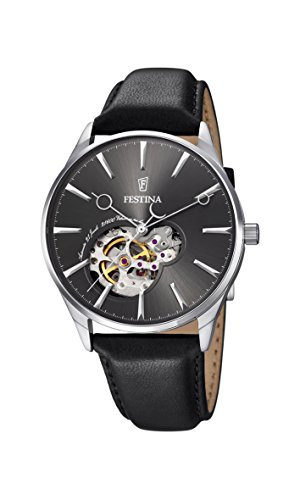 Festina Men's Automatic Watch with Grey Dial Analogue Display and Black Leather Strap F6846/2