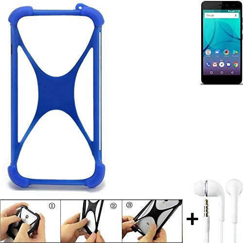 K-S-Trade Bumper für Allview P7 Lite Schutzhülle Handyhülle Silikon Schutz Hülle Cover Case Silikoncase Silikonbumper TPU Softcase Smartphone, Blau (1x), Headphones