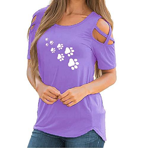KPILP Femme Sexy T-Shirts et Tops de Sport Femme Printemps et Eté Col Rond Épaule sans Bretelles Mignon Empreintes d'animaux Impression T-Shirts (Violet,FR-48/CN-L)