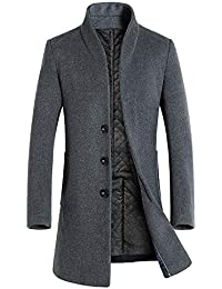 dbf98c8689e8 Manteau Homme Automne Hiver Chaud Long Slim Trench Coat Vestes en Laine  Manche Longues Fashion à