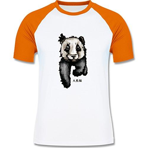 """Wildnis - Panda mit chinesischen Schriftzeichen für Panda übersetzt """"große Bär-Katze"""" - zweifarbiges Baseballshirt für Männer Weiß/Orange"""