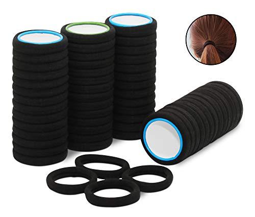 50 Stück Haargummi schwarz aus hochwertiger Baumwolle, ideal für den alltäglichen Gebrauch. Elastisches Haarband | Zopfband ist als Haarschmuck ohne Metallbügel bestens für Damen & Mädchen geeignet - Zopf-gummis
