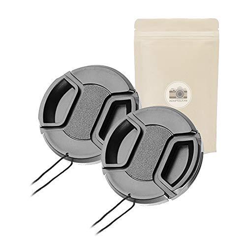 2x 55 Tappo Cappuccio Cache di obiettivo di qualità con clip di chiusura anteriore per obiettivo di diametro 55 compatibile Fotocamera tutte