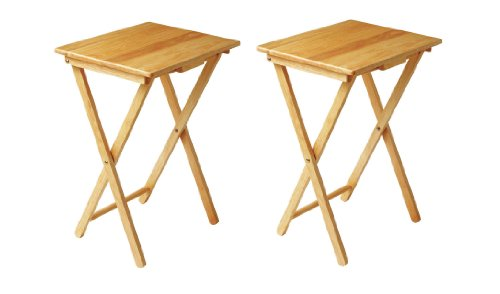Set Of 2, Folding TV Table Ideal For Tea Coffee Snacks Breakfast Lunch Dinner Games & Laptop Portable Table, Solid Natural Tropical Hevea Wood