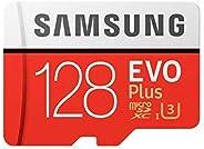 Samsung MB-MC128GA/EU EVO Plus microSD-Karte 128 GB, UHS-I, Class U3, bis 100 MB/s Lesegeschwindigkeit, 90 MB/s Schreiben + S