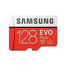 Samsung MB-MC128GA/EU EVO Plus micro SD card, 128 GB, UHS-I, Class U3, up to 100 MB/s reading speed, 90 MB/s writing speed. SD adapter included