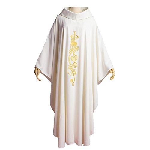 Kostüm Priester Kragen - BLESSUME Chasuble Kirche Lamm Gestickter Priester Gewänder Roll Kragen Weiß