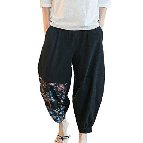 HZCX FASHION Men's Vintage Elastic Eaist Casual Kongfu Jogging Pants