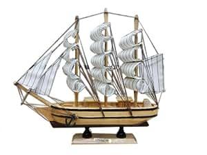 Onlineshoppee Wooden Home Decor Ship ( White, 30 cm )