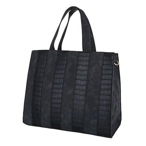 iTal-dEsiGn Damentasche Mittelgroße Schultertasche Tragetasche Handtasche Kunstleder TA-A913 Schwarz