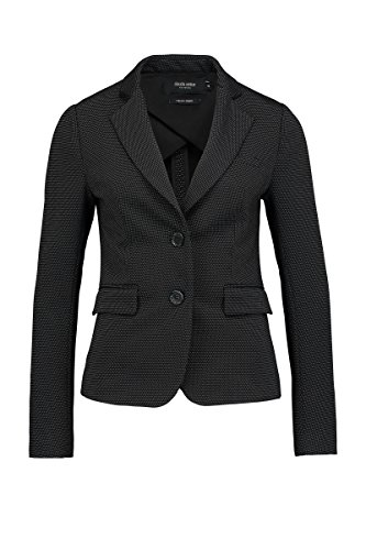Claudia Sträter Damen Jersey-Blazer mit kleinem Punktmuster,fancy Schwarz,38 (- Knopf-manschette Stretch-blazer)