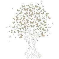 Stencil Mini Deco Vintage Figura 062 Arbol Mariposas. Medidas aproximadas: Medida exterior del stencil: 12 x 12 cm Medida del diseño:8 x 10 cm