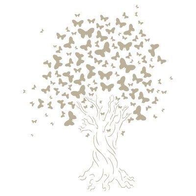 Stencil mini deco vintage figura 062 albero farfallas. misure: dimensioni esterne dello stencil: 12 x 12 (cm) misure design: 8 x 10 (cm)