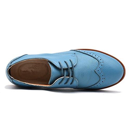 Derbies Moonwalker à Lacets en Femme Véritable Bleu Cuir Chaussures UvEqwvx1
